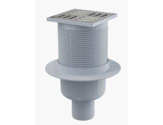 ALCA PLAST APV2 Podlahová vpust 105x105/50 mm přímá, mřížka nerez, vodní zápachová uzávěra