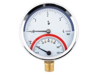 """Termomanometr 0-4bar, 0-120°C,1/2"""" spodní vývod"""